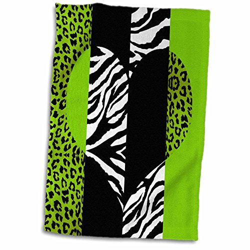 3D Rose Lime Black and White Animal Print-Leopard and Zeb...