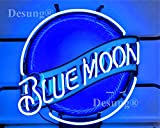 Desung 19'x15' Blue Moon Neon Sign Light HD Vivid Printing Technology Man Cave Beer Bar Pub Handmade Real Glass Tube Lamp NT03
