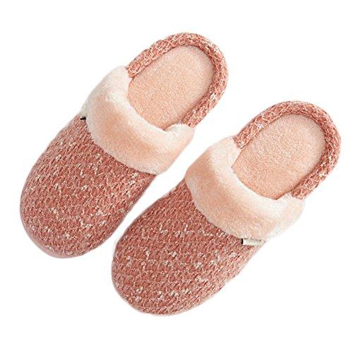 Cybling Invierno Mujeres Cómodas Fuzzy Warm Inicio Zapatillas Interior Antideslizante Rosa Claro