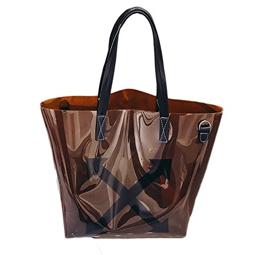 Women's Bag PVC Bag Tote Capacity Pieces Coffee 2 Bag Transparent Shoulder QZUnique Crossbody Clear Large qPxdPwaU