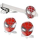 V G S Eternity Fashions Fashion Jewelry ~ Silvertone Red Spiderman Tie Clips & Cufflinks Set