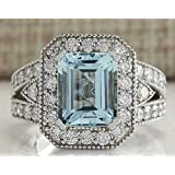 Gorgeous 925 Silver 7.82CT Aquamarine Ring Wedding Engagement Jewelry Size 6-10 (8)