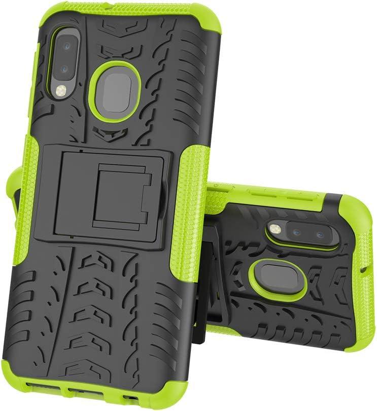Hyun Green Tyre Pattern Design Heavy Duty Tough Armor Extreme Protection Case With Kickstand Shock Absorbing Detachable 2 in 1 Case Cover For Samsung Galaxy A10e MRSTER Samsung A20e Case A20e