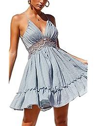 Womens Dresses V-Neck Spaghetti Strap Bowknot Backless Sleeveless Lace Mini Swing Skater Dress