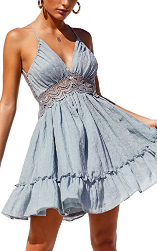 Mini Swing - ECOWISH Womens Dresses V-Neck Spaghetti Strap Bowknot Backless Sleeveless Lace Mini Swing Skater Dress Light Blue S