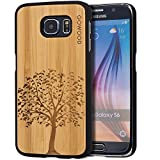 Samsung Galaxy S6 Case - Wood - Real Natural Bamboo Wooden Backplate With Unique Tree Design and Shock Absorbing Polycarbonate Protective Bumper