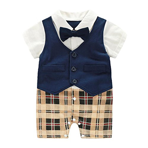Fairy Baby Baby Boy Formal Outfit Short Sleeve Tuxedo Plaid Gentleman Suit