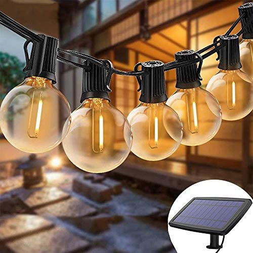 Solar Lights String Outdoor Waterproof LED Indoor Hanging Umbrella Lights with 25 Bulbs – 27 Ft Patio Lights for Deckyard Tents Market Cafe Gazebo Porch Party Garden Decor