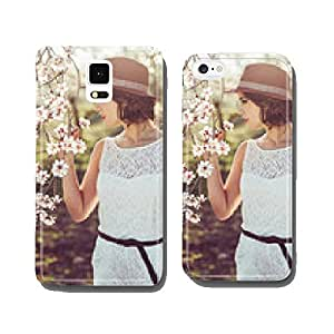 Portrait of young woman in the flowered garden in the spring tim cell phone cover case Samsung S5