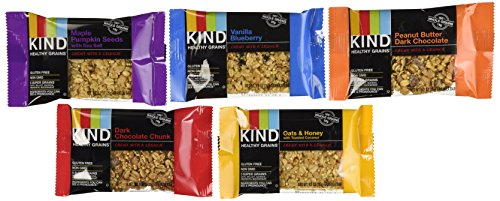 KIND Healthy Grains Granola Bars, VARIETY 5 PACK: Maple Pumpkin Seeds with Sea Salt, Dark Chocolate Chunk, Peanut Butter Dark Chocolate, Oats & Honey with Toasted Coconut, and Vanilla Blueberry. by KIND