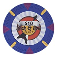 Claysmith Gaming Rock & Roll Poker Chip Heavyweight 13.5-gram Clay Composite – Pack of 50 ($10 Blue)