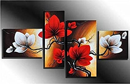 Wieco Art The Back Full Bloom In Spring Red Flowers 100% Hand Painted Best