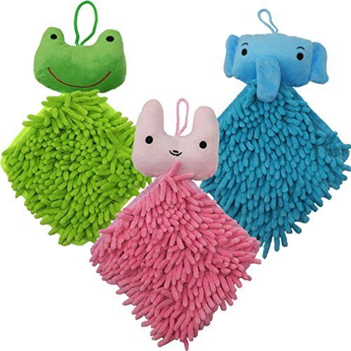 NEUAIR 3 Pack Chenille Cartoon Hanging Hand Towels Duster Cloth for Kids Multipurpose for Bathroom&Kitchen, Blue&Pink&Green