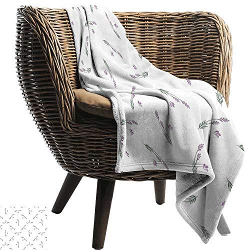 BelleAckerman Throw Blanket,Lavender,Curvy Herbal Stems Healing Aroma Nature Inspired Artwork in Watercolors,Sage Green Lavender,300GSM,Super Soft and Warm,Durable Blanket 50