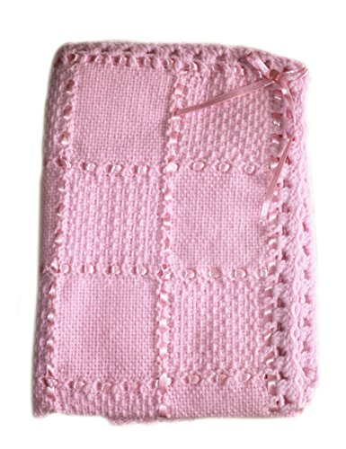 Handmade Baby Receiving Blanket - Knitted Baby Blanket Handmade with Love by a Grandma. Knit Newborn Baby Blanket with Soft Cotton Backing (BabyLove9)