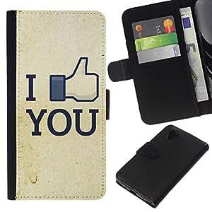 All Phone Most Case / Oferta Especial Cáscara Funda de cuero Monedero Cubierta de proteccion Caso / Wallet Case for LG Nexus 5 D820 D821 // Funny I Like You