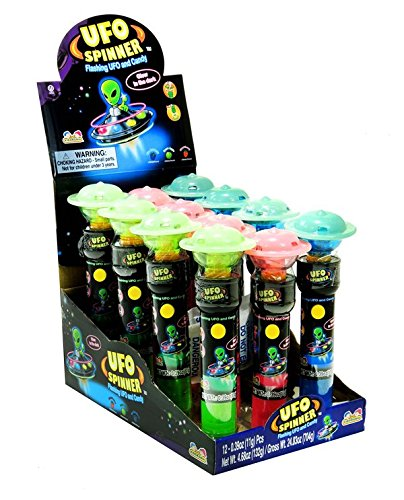 - Flashing Saucers Alien Ufo Spinner With Candy Pop(Glow In The Dark!) - 12 Ct. Case