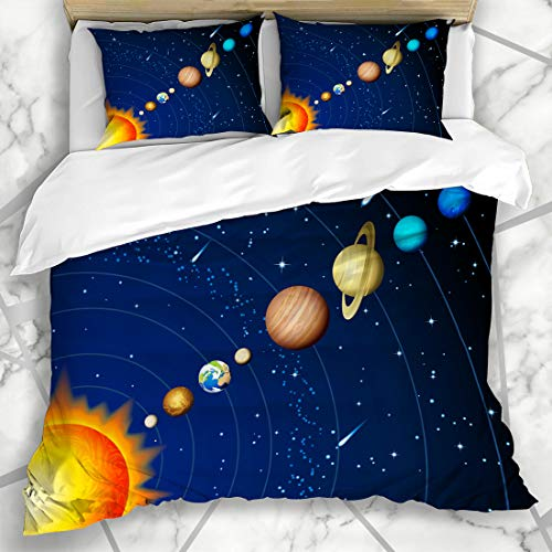 Ahawoso Duvet Cover Sets King 90x104 Mercury Saturn Solar System Abstract Planet Star Galaxy Jupiter Meteor Pluto Design Microfiber Bedding with 2 Pillow Shams