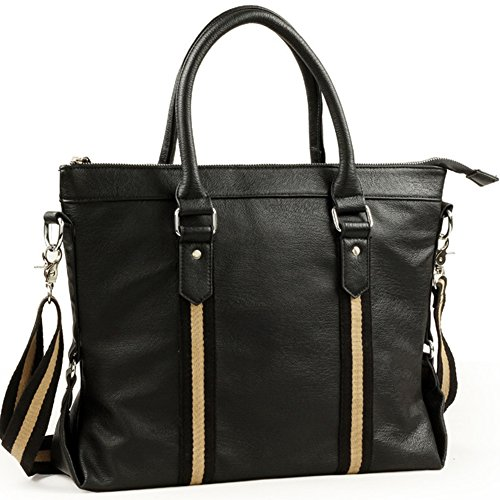 BLOOMSTAR Fashion PU Leather Business Laptop Cross Body Shoulder Messenger Bag Satchel Tote Handbag (Black)