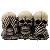 Gothic Decor No Evil Skulls Figurine for Scary Halloween Decorations and Spooky Skeleton Statues & Medieval Fantasy Home Decor Sculptures and Gothic Gifts