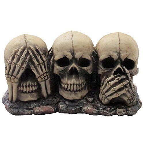 No Evil Skulls Figurine for Scary Halloween Decorations and Spooky Skeleton Statues & Medieval Fantasy Home Decor Sculptures and Gothic Gifts