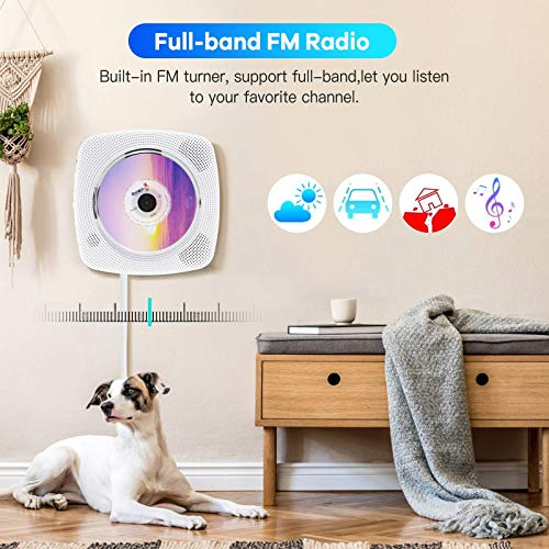 Portable CD Player with Bluetooth, FM Radio, Wall Mountable CD Music Player with Dust Cover/Remote Control, MP3 Player, TF/USB/AUX Port Supported for Kids & Adults | Home Decor, Timer Shutdown