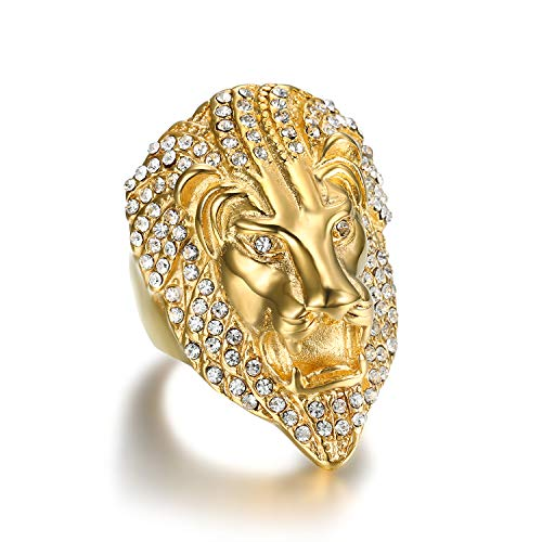 (Lee Island Fashion 24K Gold Plated Simmulated Diamond CZ Fully Lion King Stainless Steel Ring for Men)