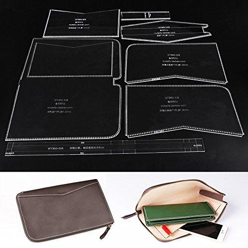 WUTA Acrylic Template for Business Zipper Clutch Handbag Leathercraft Pattern Set WT950 -