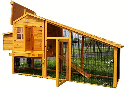 LARGE 7FT COCOON CHICKEN COOP HEN HOUSE POULTRY ARK NEST BOX RABBIT HUTCH NEW - LARGE COOP WITH INNOVATIVE LOCKING MECHANISM - PERSPEX WINDOWS - REAR VENT HOLES - CLEANING TRAY - SECURE NEST BOX FLOOR (NO SHIPING TO NORTHERN IRELAND, ISLANDS, SCOTTISH HIGHLANDS)