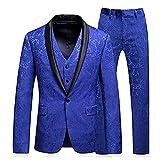 Everbeauty Vintage Men's 3 Pieces Dress Suits For Wedding Business Suit Set Blazer Jacket Pants Tux Vest