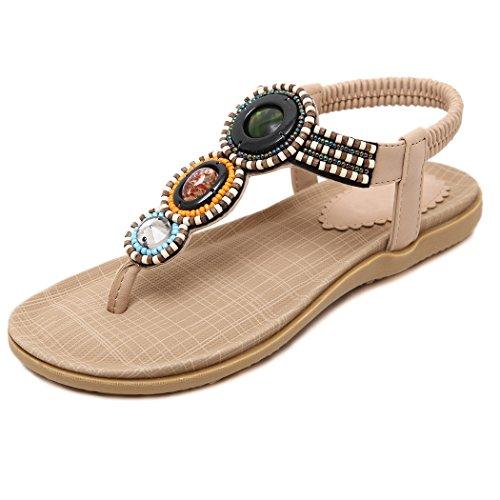 de Chaussures Ruiren Dames Tongs Femmes pour Sandales Plates Abricot pour D'été wwXIqS