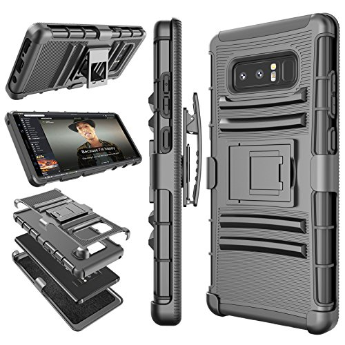 Price comparison product image Galaxy Note 8 Case, Note 8 Holster Clip, Tekcoo [Hoplite] Shock Absorbing Swivel Locking Belt [Black] Defender Heavy Full Body Kickstand Carrying Tank Armor Cases Cover For Samsung Galaxy Note 8