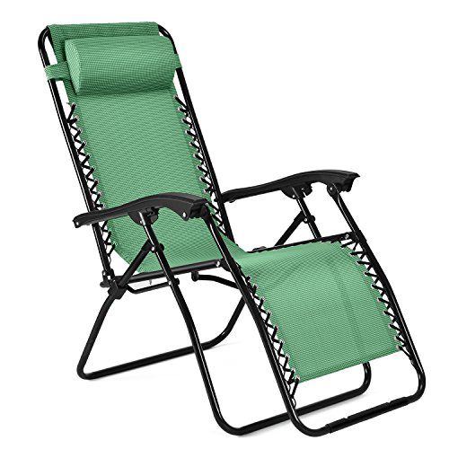 Flexzion Zero Gravity Chair - Anti Gravity Outdoor Lounge Patio Folding Reclining Chair and Textilene Seat with Footrest & Adjustable Pillow For Yard, Beach, Camping, Garden, Pool, Lawn Deck (Green) by Flexzion