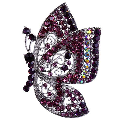 - Vintage Butterfly Insect Silver plated Brooch Pin Rhinestone Crystal Jewelry | Color - Purple
