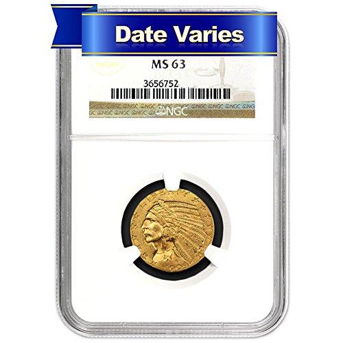 1908-1916 $5 Indian Head Gold Half Eagle (Random Year) $5 MS63 NGC 1910 Gold Coin