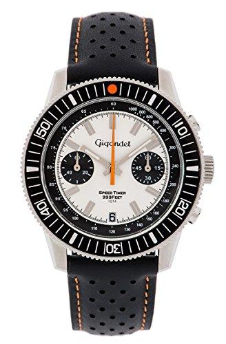 Gigandet Men's Quartz Watch Speed Timer Chronograph Analog Leather Strap Black White G7-006