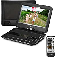 UEME 10.1 Portable DVD Player CD Player with Car Headrest Mount Holder, Swivel Screen Remote Control Rechargeable Battery Car Charger AC Adapter, Mini DVD Player PD-1010 (Black)