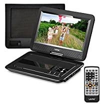 """UEME 10.1"""" Portable DVD Player CD Player with Car Headrest Mount Holder, Swivel Screen Remote Control Rechargeable Battery Car Charger AC Adapter, Mini DVD Player PD-1010 (Black)"""