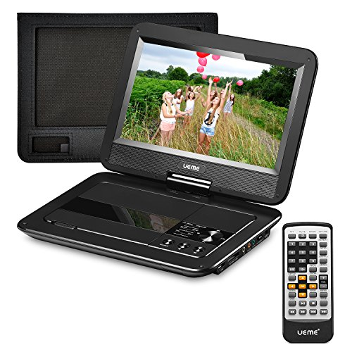 UEME Portable DVD Player with 10.1 inches LCD Screen, Car Headrest Mount Holder, Remote Control, Car Charger Wall Charger, Mobile DVD Players with Rechargeable Battery (Black) (Car Dvd Portable Player)
