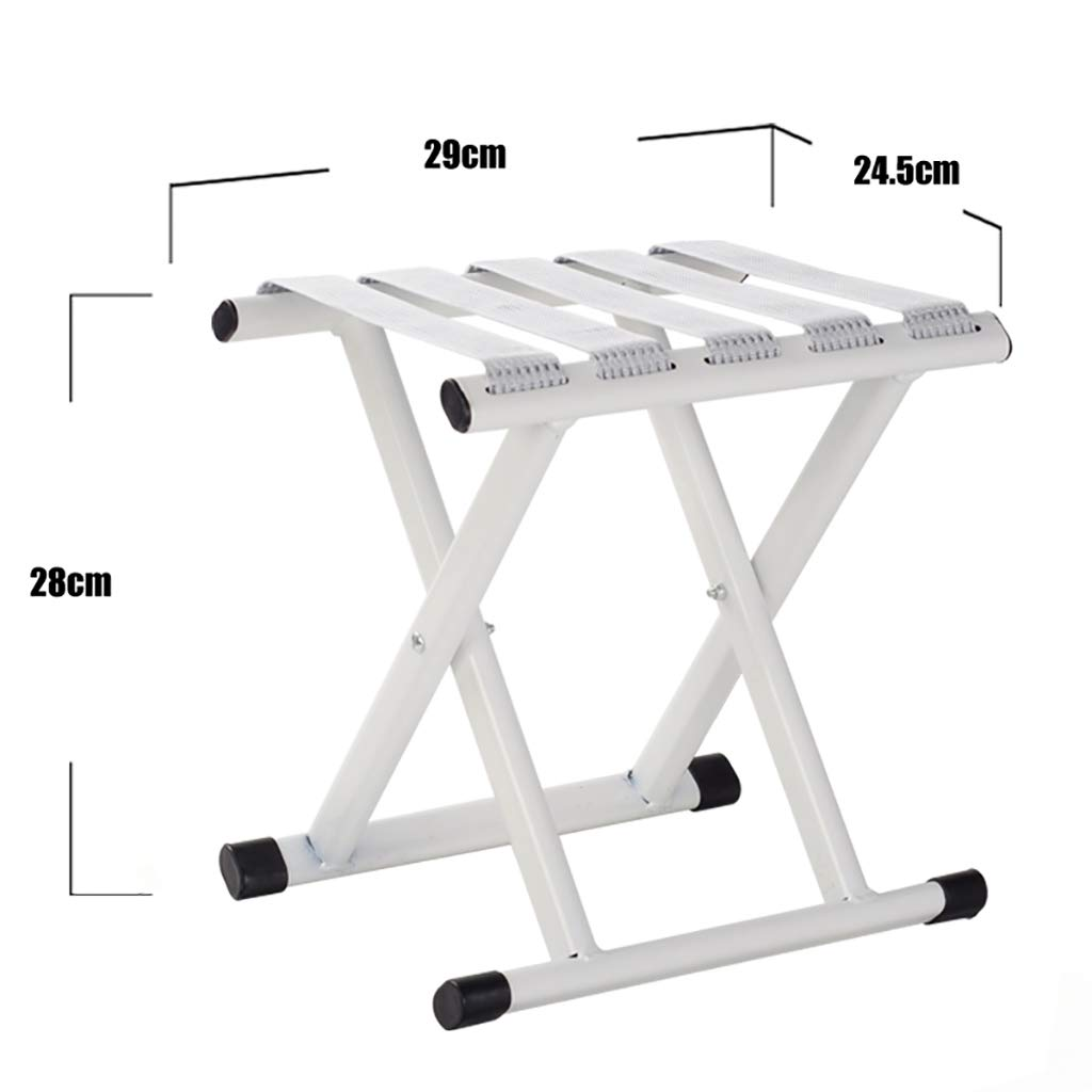 Luggage Racks- Folding metal outdoor Mazar stool Leisure fishing beach nylon rope stool Multi-function home Hotel luggage rack Sofa stool Foot stool Size: 2924.528cm (Color : B)
