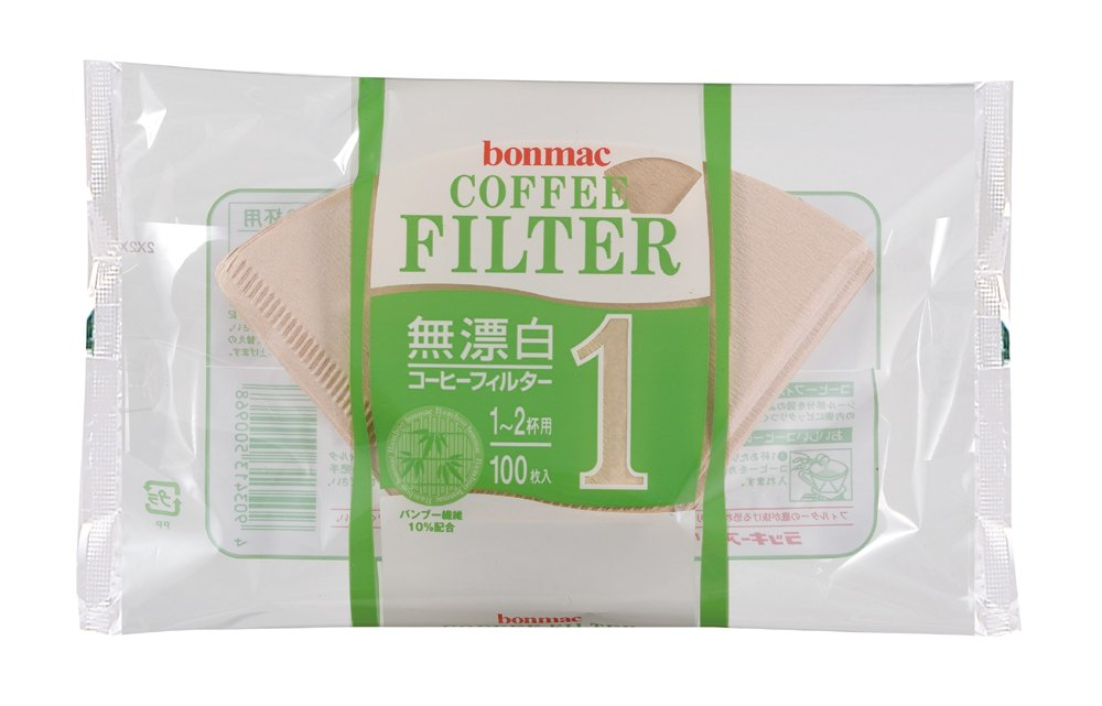 [1-2] bonmac cups unbleached bamboo blended filter CF-100BAM 100 sheets x 10 pack # 858511 (japan import)