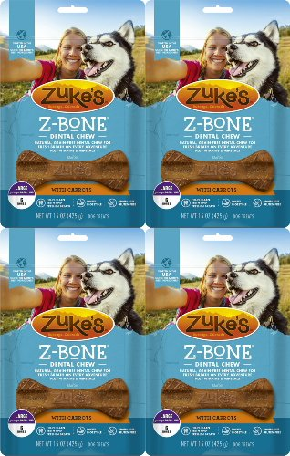 Zuke's Z-Bone Dental Chew w/Carrots, Large, 6 Count (Pack of 4)