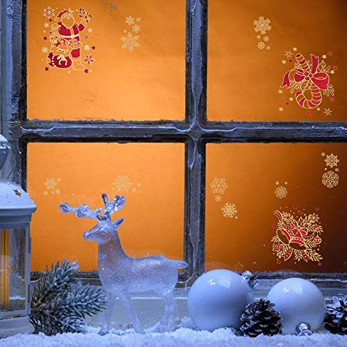 - LONGBLE 5 Sheets Christmas Window Snowflakes Santa Claus Jingle Bells Red and Gold Series Window Clings PVC Winter Wall Decal Stickers Ornaments for Xmas Party