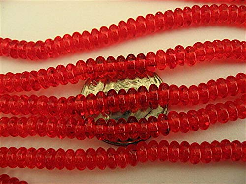(100 Siam Ruby Red Czech Glass Rondelle Spacer Beads 4mm)