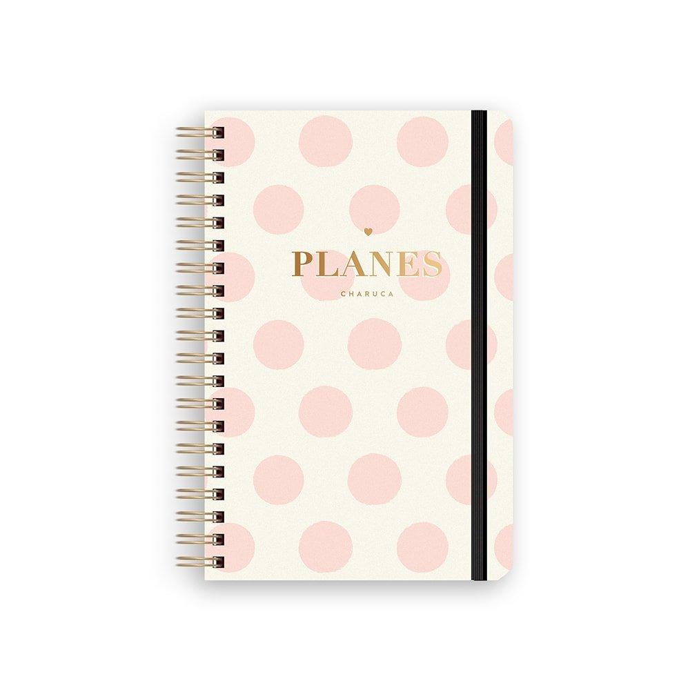 Charuca PLS05 - Planificador semanal con tapa y diseño Topos, 130 x 195 mm, color rosa