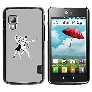 GOODTHINGS Funda Imagen Diseño Carcasa Tapa Trasera Negro Cover Skin Case para LG Optimus L5 II Dual E455 E460 - hombre mujer dibujo del arte del arma criminal