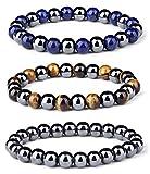 magnetic energy bracelet - LOYALLOOK 3Pcs Men Women Reiki Healing Bracelet Energy Natural Tiger Eye Stone Magnetic Hematite Therapy Beads Bracelet Elastic Rope