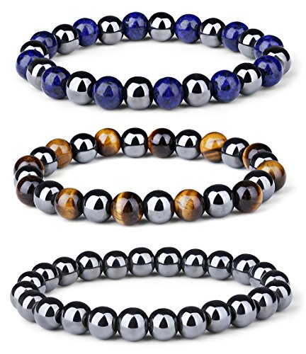 (LOYALLOOK 3Pcs Men Women Reiki Healing Bracelet Energy Natural Tiger Eye Stone Magnetic Hematite Therapy Beads Bracelet Elastic)