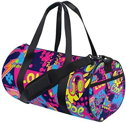 ZOMOY Sporttasche,Abstraktes Grunge Muster Helles Neon,Neue Druckzylinder Sporttasche Fitness Taschen Reisetasche Gepäck Leinwand Handtasche