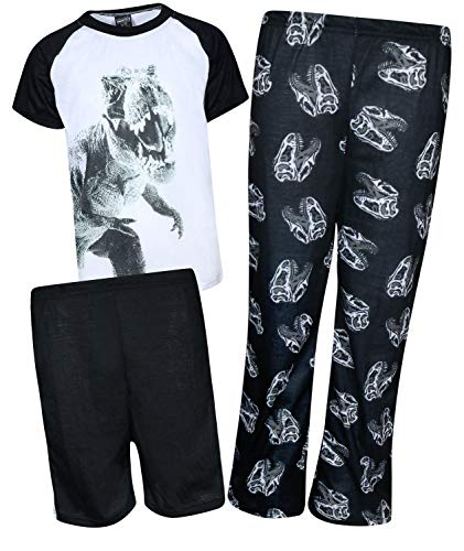 Quad Seven Boys 3-Piece Pajama Set - Shorts, Long Pants, and Graphic T-Shirt, White Dinosaur, Size 12/14' ()